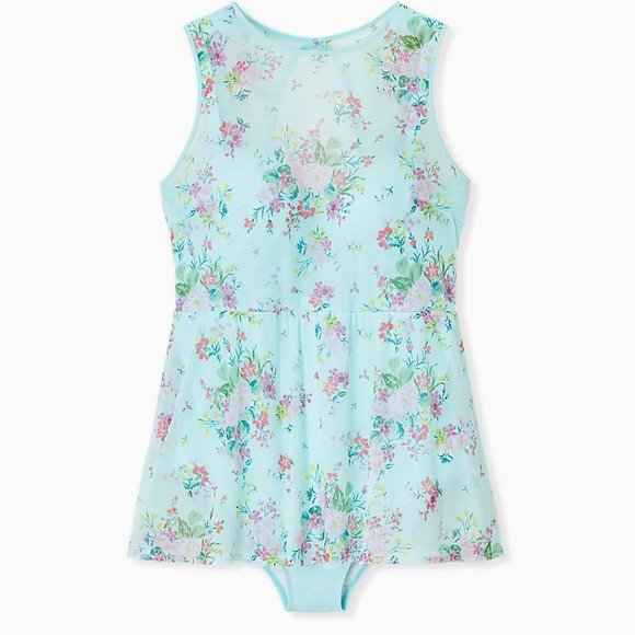 Torrid NWT Aqua Floral Mesh Skater Swim Suit Dress